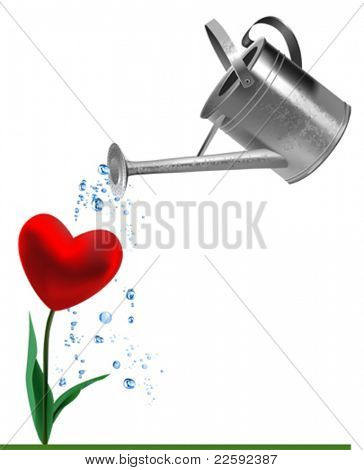 Heart and watering can. All elements and textures are individual objects. Vector illustration scale to any size.