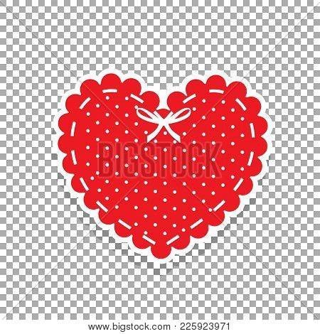 Cute Red Lacy Heart With White Polka Dots Pattern And Ribbon Iso