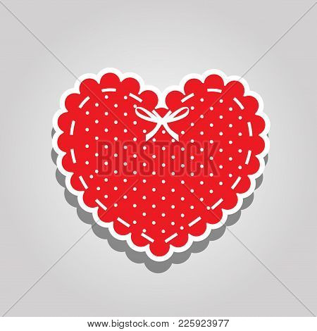 Red Heart With White Polka Dots Pattern, Lacing And Ribbon