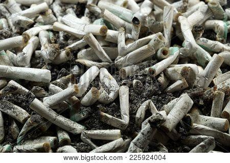 Heap Of White Cigarette Butts, Slim Type, Spilled Ash
