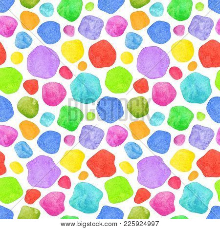 Colorful Abstract Geometric Irregular Shapes On White Background. Abstract Simple Bright Color Textu