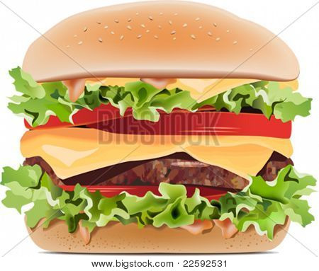Hamburger. All elements and textures are individual objects. Vector illustration scale to any size.
