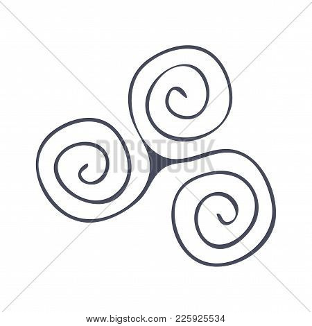 Vector Symbol: The Triad, Triskelion, Triskele, Or Celtic Triple Spiral. Spiral Of Life Symbol.
