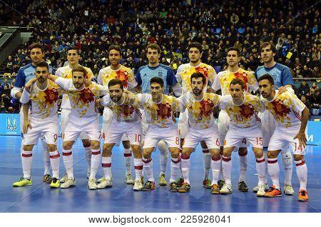 Kyiv, Ukraine - January 28, 2017: National Futsal Team Of Spain Pose For A Group Photo During Friend