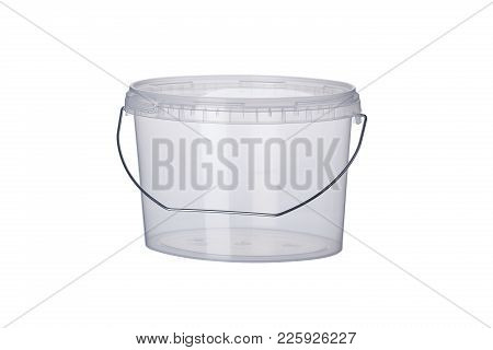 Transparent Oval Plastic Bucket With Transparent Lid, Plastic Containers On White Background, Food P