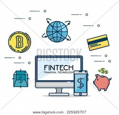 Fintech Investment Financial Internet Technology Concept Fintech Industry Vector Illustration Graphi