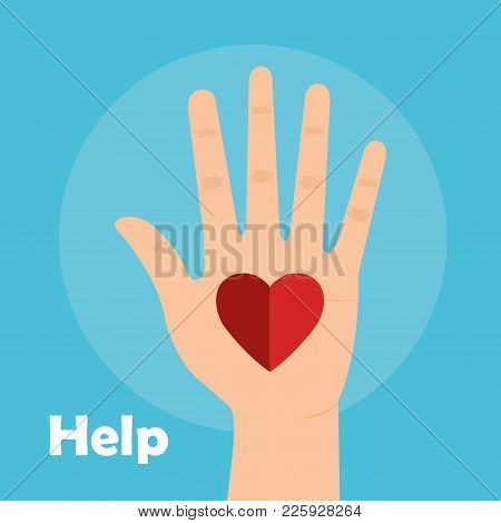 Hand With Heart Help Vector Illustration Design