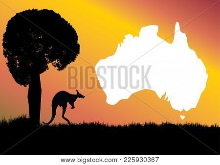 Map Of Australia With Kangaroo And Unique Boab Tree Which Is The Icon Of The Kimberley Region Of Wes