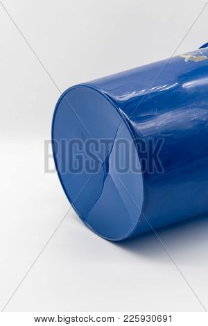 Close Up Old And Dirty Cracked Plastic Blue Color Bucket Isolated On White Background