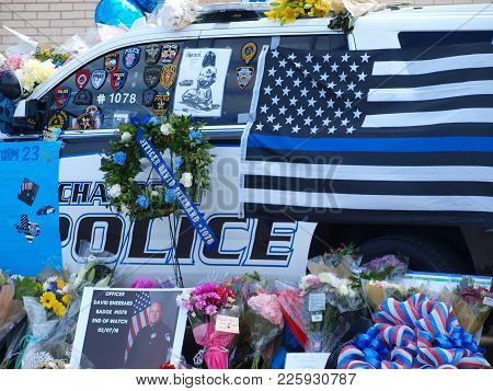 Dallas,usa,february 09,2018. The Memorial Car To Receive Tributes To Richardson, Texas Officer David