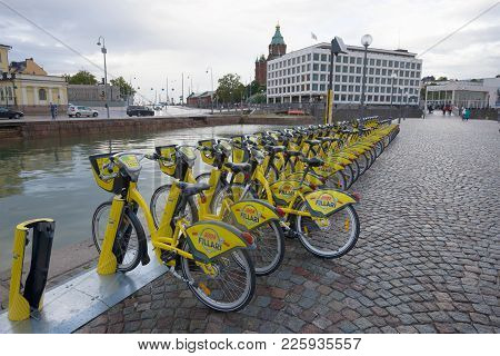 Helsinki, Finland - September 16, 2017: Modern Bicycle Rental On The City Embankment In The Gloomy S