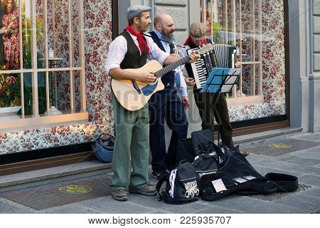 Florence, Italy - September 19, 2017: Performance Of Street Musicians
