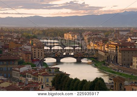 Warm September Twilight Over Florence, Italy, Europe