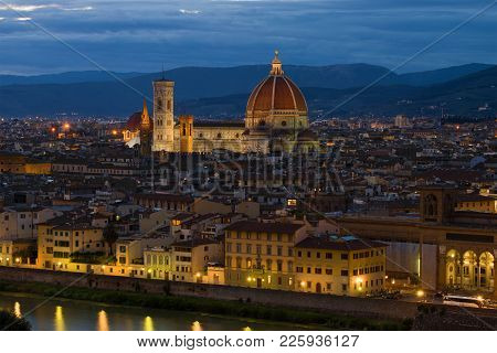 View Of The Cathedral Of Santa Maria Del Fiore On The Autumn Evening. Florence, Italy