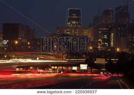 Baku, Azerbaijan - January 05, 2018: Road Junctions Of Modern Baku. Night Landscape