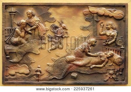 KOLKATA,INDIA - FEBRUARY 09: Hari-naigamesin removes the fetus from Devanandas wom and lodges in the tomb of queen Trisala, relief on the wall of Jain Temple in Kolkata on February 09, 2016.