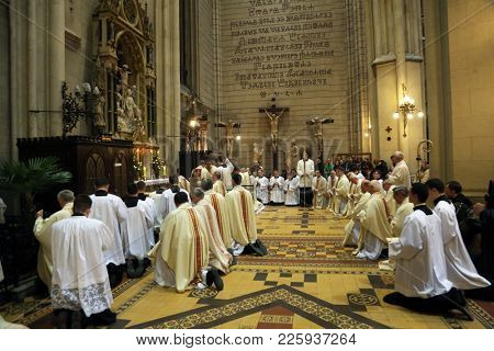 ZAGREB, CROATIA - APRIL 02, 2015: Holy Thursday, Mass Lord's Supper in Zagreb Cathedral, led by Cardinal Josip Bozanic, Archbishop of Zagreb