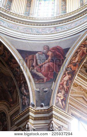 MANTUA, ITALY - JUNE 04: Saint Luke the Evangelist, fresco in Mantua Cathedral dedicated to Saint Peter, Mantua, Italy on June 04, 2017.