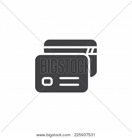 Credit Cards Icon Vector, Filled Flat Sign, Solid Pictogram Isolated On White. Payment Method Symbol