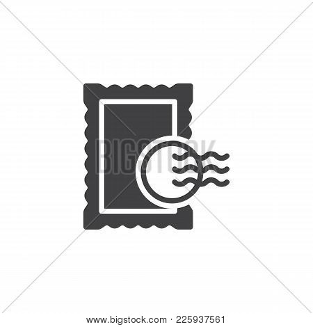 Post Stamp Icon Vector, Filled Flat Sign, Solid Pictogram Isolated On White. Symbol, Logo Illustrati