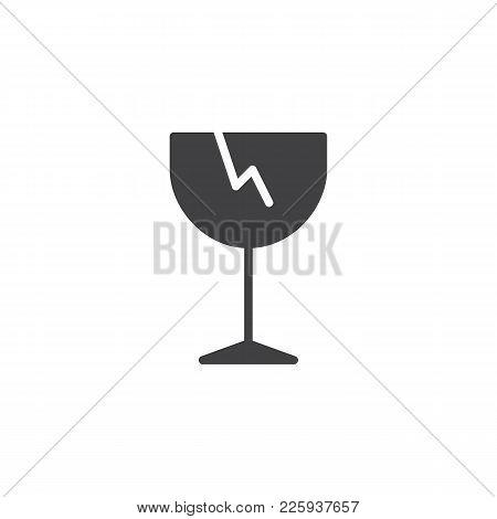 Fragile Icon Vector, Filled Flat Sign, Solid Pictogram Isolated On White. Broken Glass Symbol, Logo