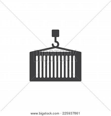Delivery Container With Crane Icon Vector, Filled Flat Sign, Solid Pictogram Isolated On White. Cont
