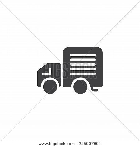 Delivery Truck Icon Vector, Filled Flat Sign, Solid Pictogram Isolated On White. Lorry Van Symbol, L