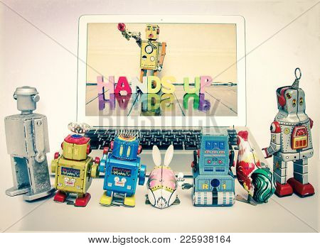 concept stealing information  with retro robot toys