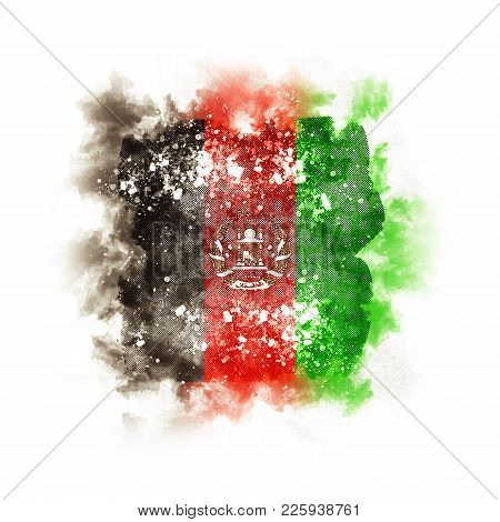 Square Grunge Flag Of Afghanistan