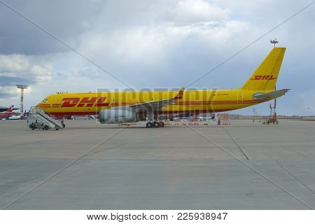 Moscow, Russia - April 15, 2015: The Cargo Aircraft Tu-204s (ra-64024) Of Dhl Company Parked On The