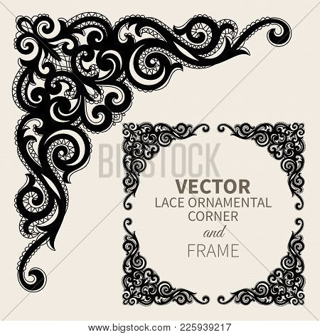 Floral Frame Border. Decorative Lace Design Element And Fancy Page Ornament. Vector Illustration