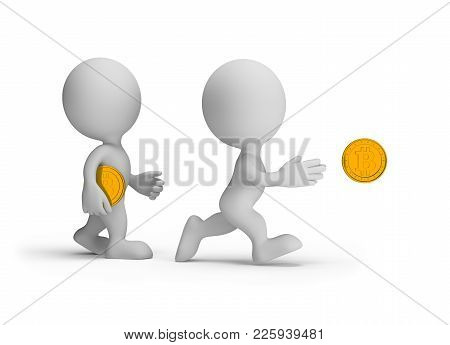 3d Person Tries To Catch A Coin. 3d Image. White Background.