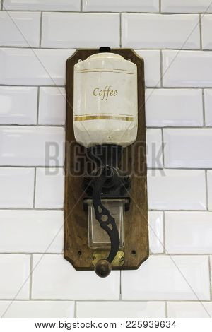 Vintage Hanging Old Coffee Grinder, Stock Photo