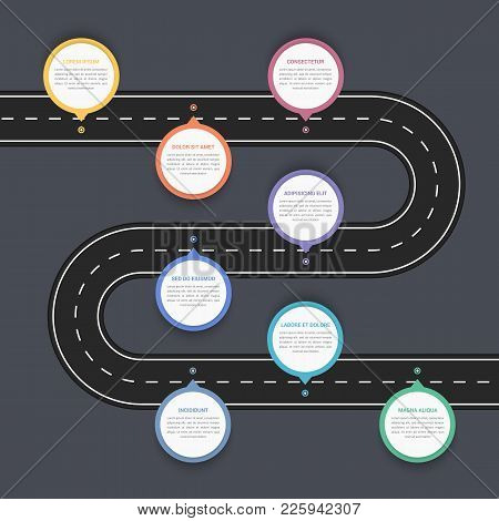 Road Infographics With Five Pointers With Place For Your Text, Vector Eps10 Illustration