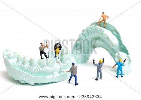 Miniature Worker Team Is Filing Fake Teeth