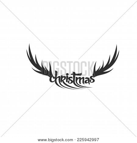 Black Deer Horn On White Background With Typography Vector Illustration Design.