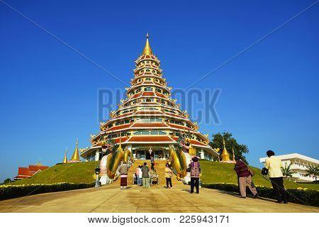 Chiang Rai, Thailand - December 24 2017 : Chinese Style Pagoda In Wat Huay Pla Kang Temple In Chiang