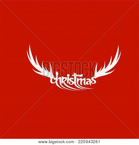 White Deer Horn On Red Background With Typography Vector Illustration Design.