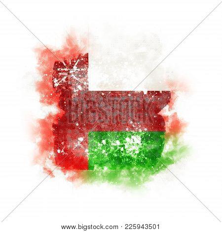 Square Grunge Flag Of Oman