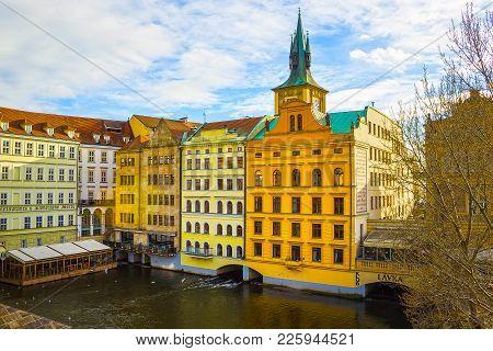 Prague, Czech Republic - December 31, 2017: Vltava River Embankment And Smetana Museum, View From Th