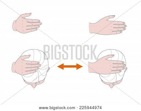 Female Head View From Above. A Woman Performs Self-massage Of Her Head With Her Hand.  Isolated On W