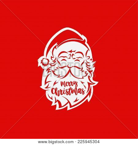 White Santa Claus Face On Red Background With Typography Vector Illustration Design.