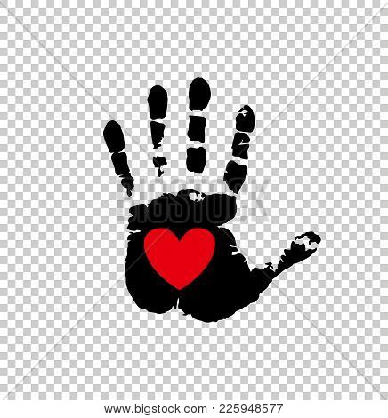 Black Silhouette Of Humans Hand Print With Heart Symbol In Open Palm Isolated On Transparent Backgro