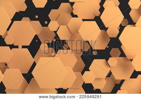 Orange Hexagons Of Random Size On Black Background