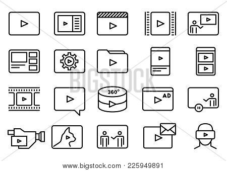 Set Of Simple Video Vector Line Art Icons