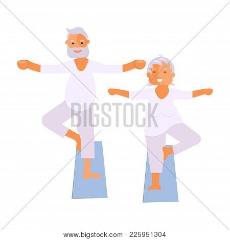 Healthy Active Lifestyle Retiree For Grandparents. Elderly People Characters Doing Exercises. Sport