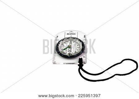 Circle Compass On Transparent Plastic Plate