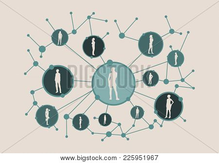 Women Social Media Network. Growth Background With Lines, Circles And Integrate Female Silhouettes.