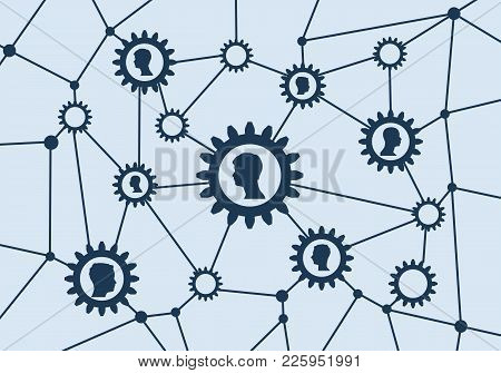 Women Social Media Network. Growth Background With Lines, Gears And Integrate Head Silhouettes. Conn
