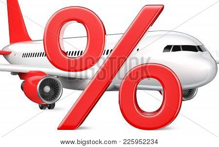 3d Percent Or Discount Symbol With The Commercial Airplane, Passenger Plane, Close-up 3d Rendering I